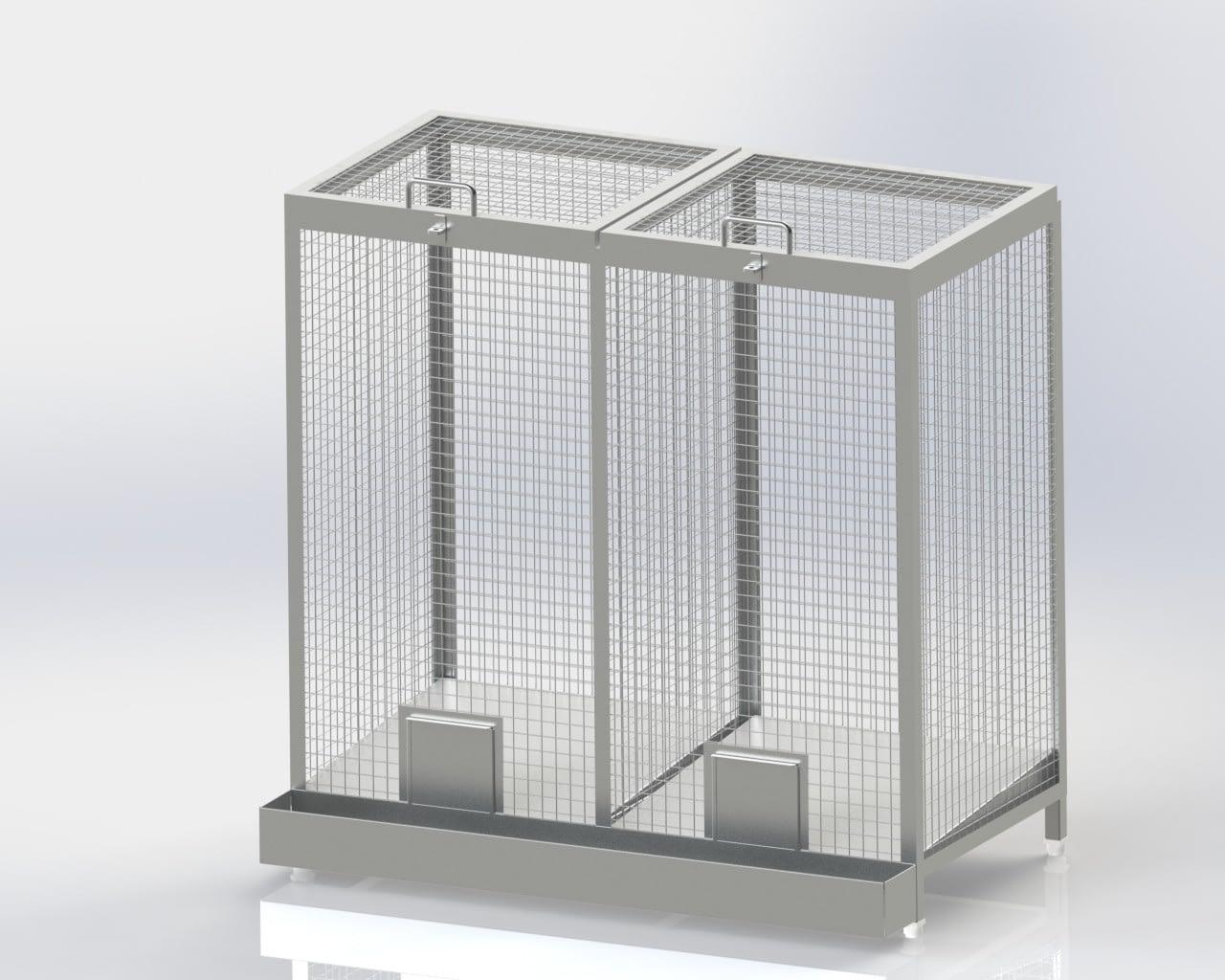 Wire Mesh Bin/Double Chamber