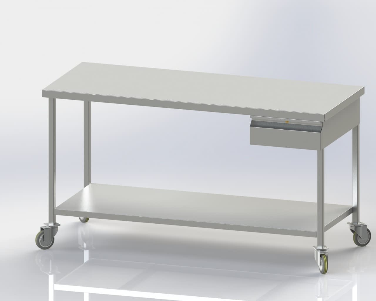 Mobile Table with Single Drawer