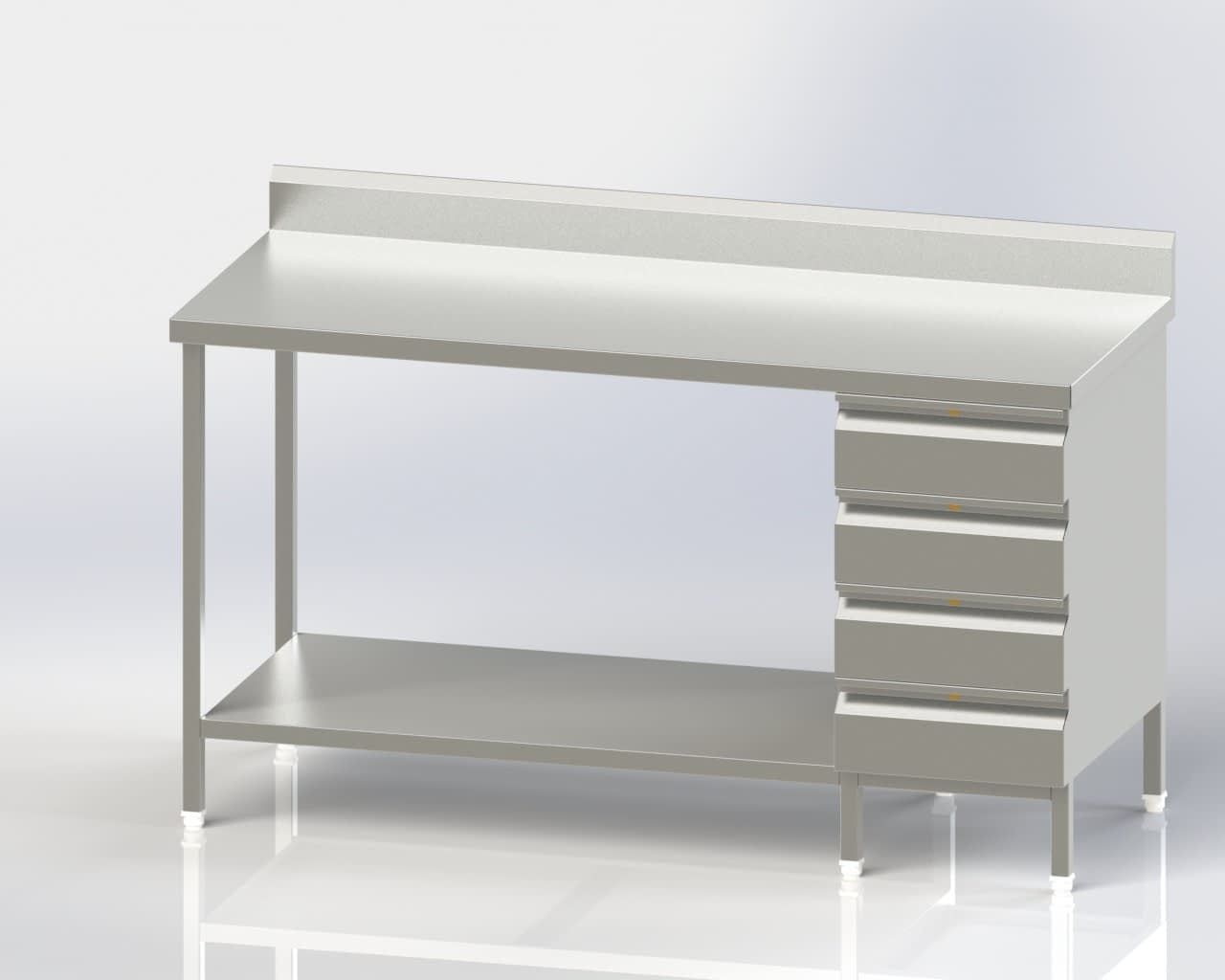 Work Table with 4 Drawer Lower Shelf