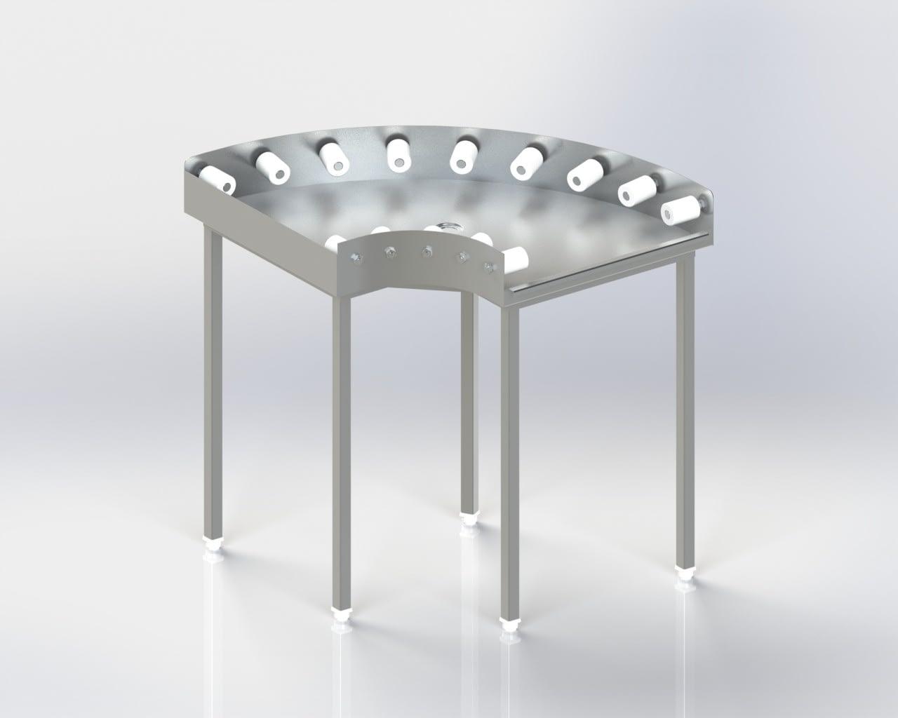Dishwasher Inlet-Outlet Corner Roller Table
