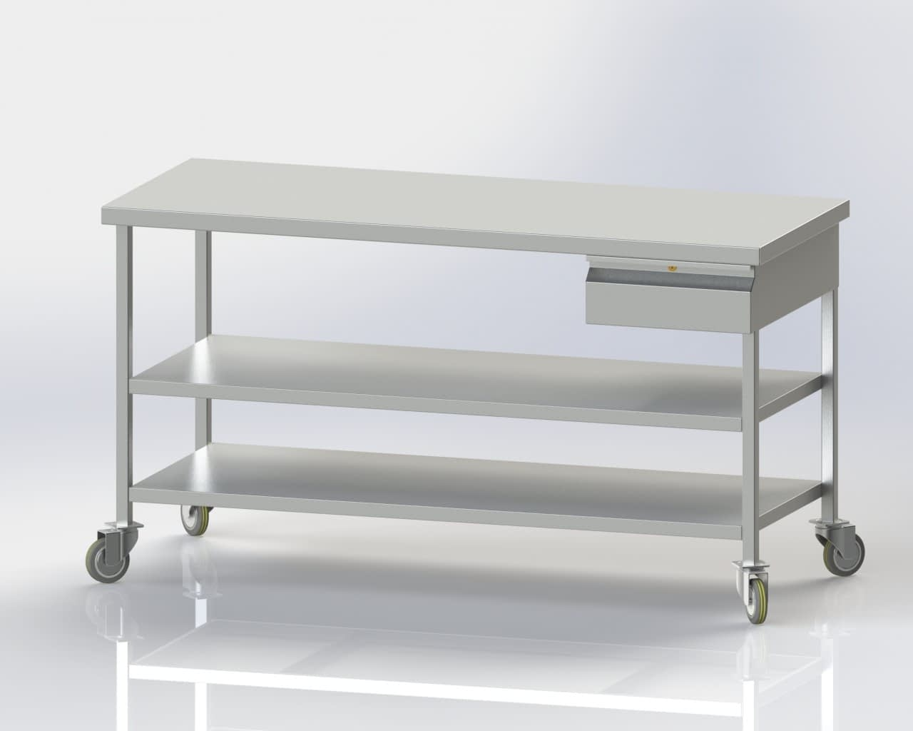 Mobile Table with Lower and Intermediate Shelves and Single Drawer
