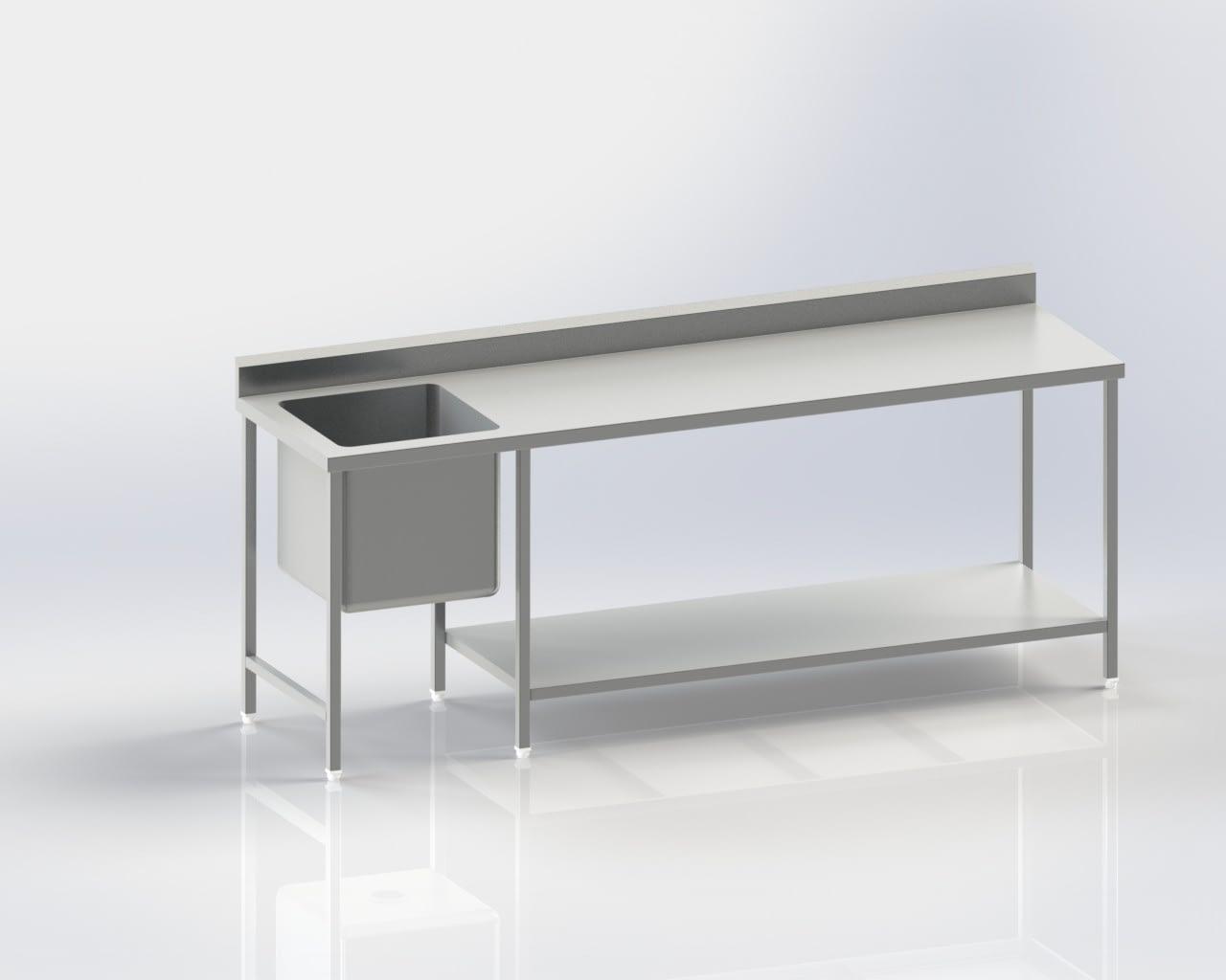 Worktable with left sink|Flat top|Back splash