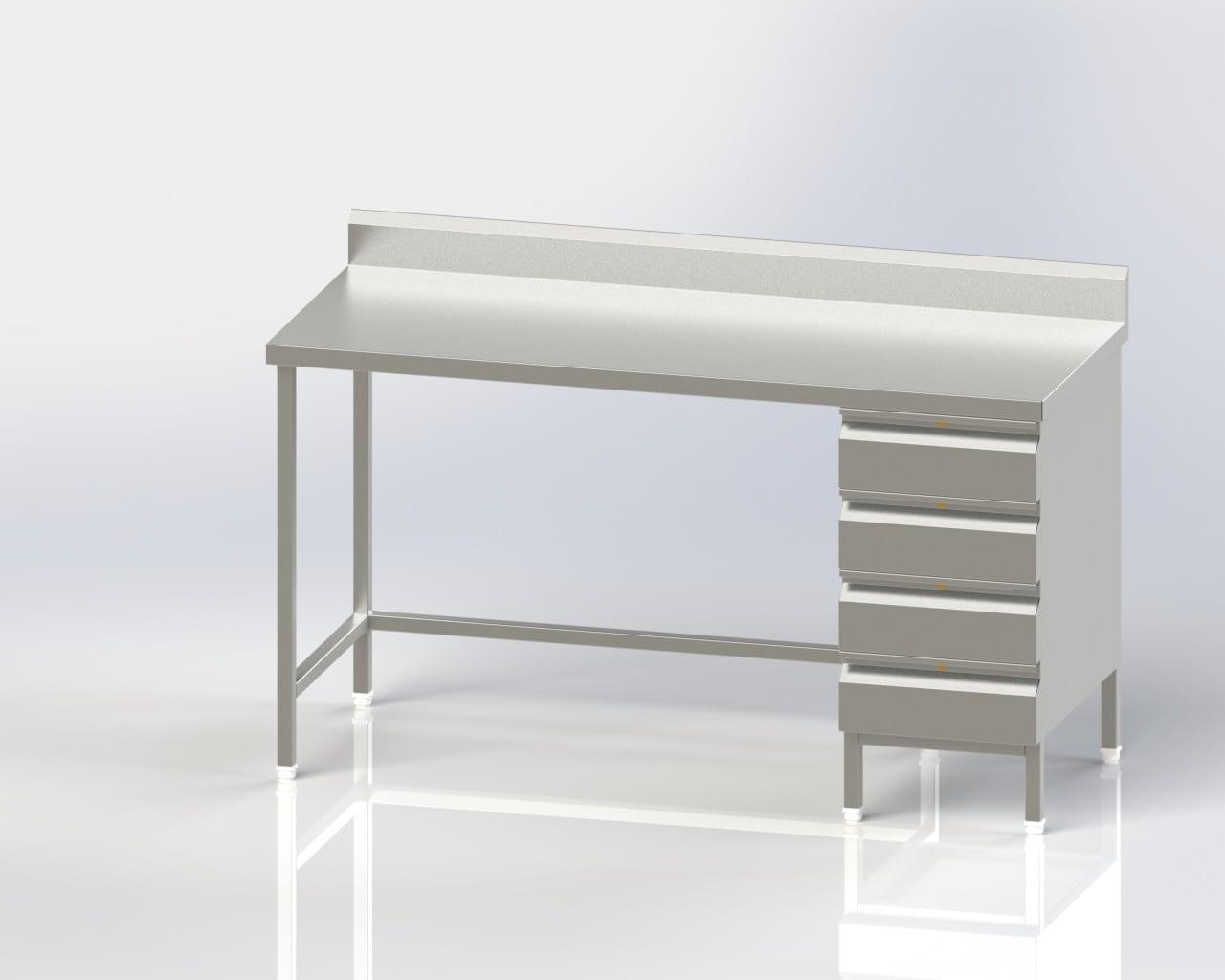 Work Table/4 Drawer with back splash