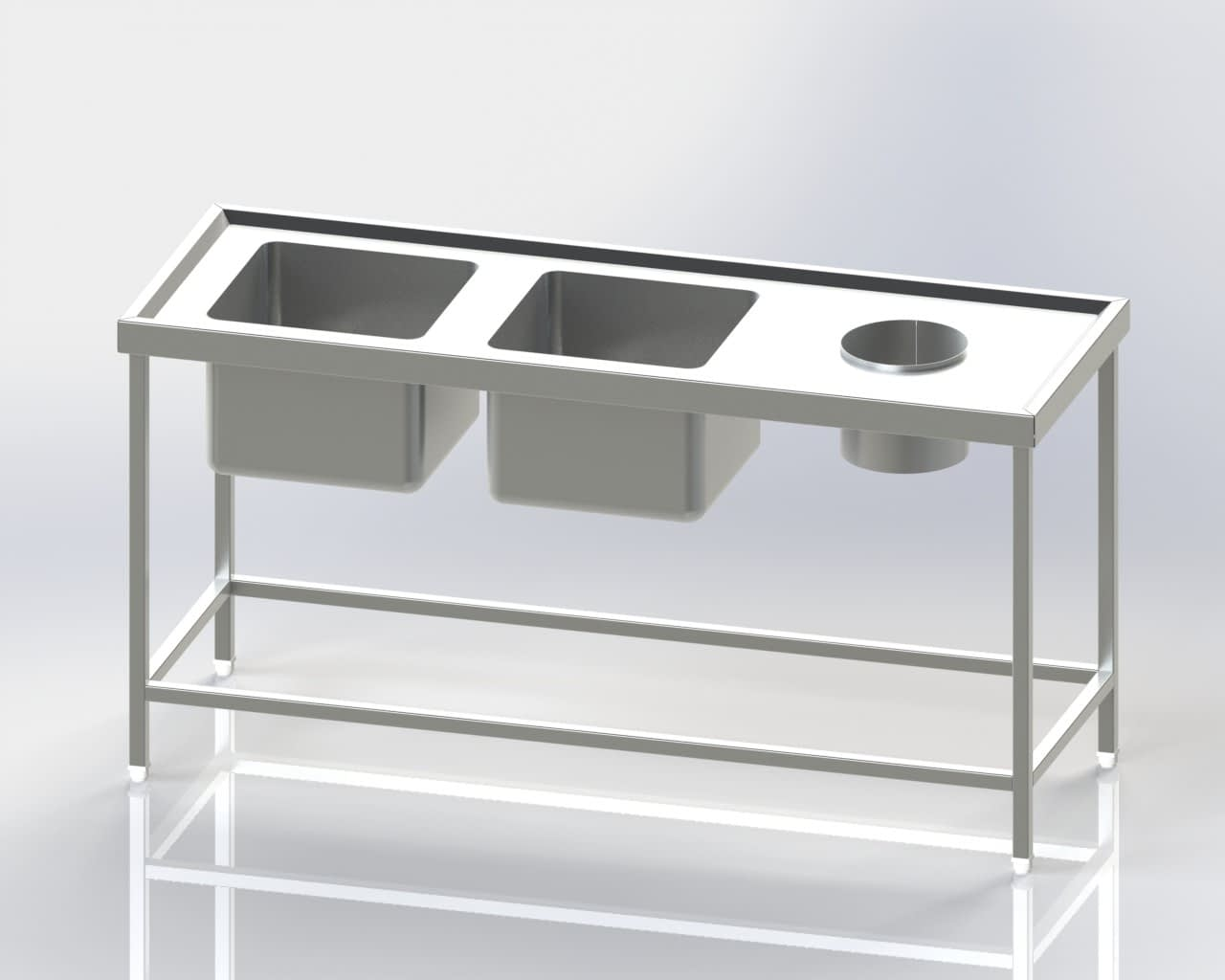 Two Sink Dish Wash Unit-Scrapping Hole