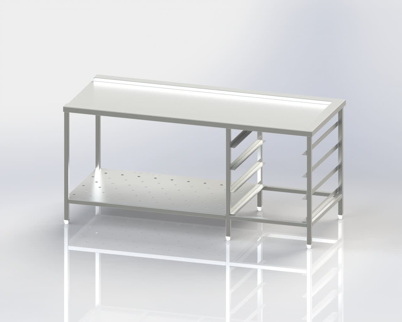 Dish Washer Outlet - Clean Dish Landing Table - Crate Storage - Perforated Shelf